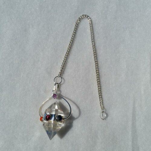 chakrapendel pendel bergkristall, dubbelterminerad