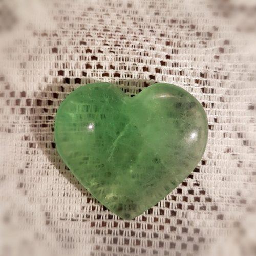 fluorit hjärta grön