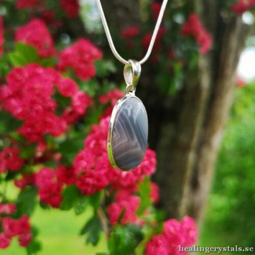 silversmycke botswana agat halsband