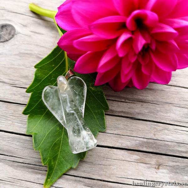 skyddsängel, ängel bergkristall halsband