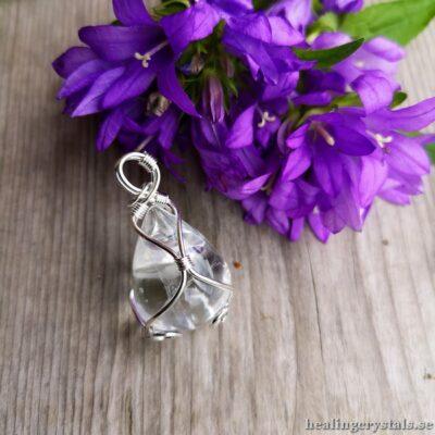 droppe i bergkristall, halsband