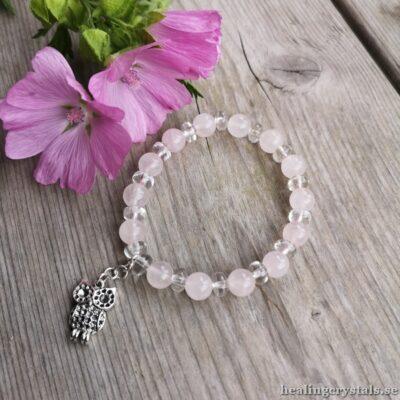 armband rosenkvarts, bergkristall
