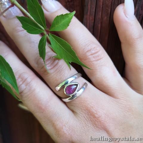 Rosa Turmalin, rubelit silverring, ring
