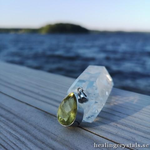 lemon quartz silverhalsband