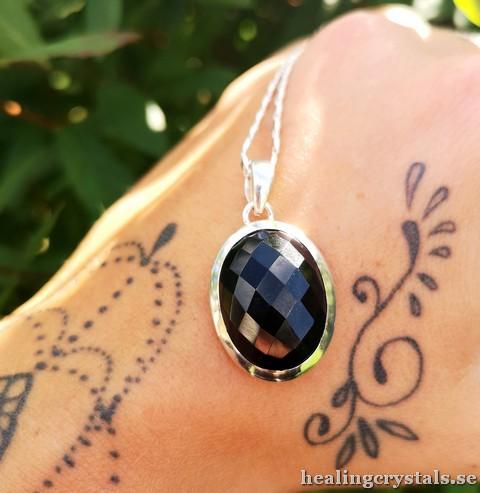 onyx silverhalsband silversmycken