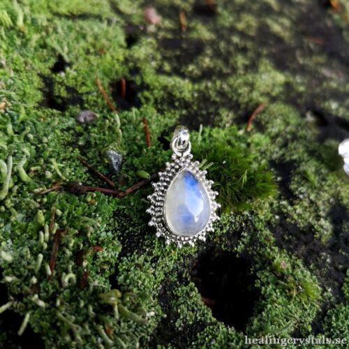 månsten silverhalsband