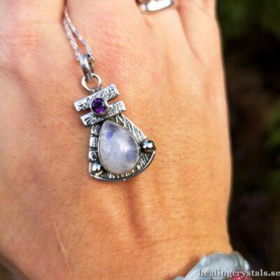 halsband silver månsten och ametist