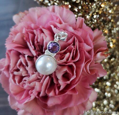 halsband silver ametist pärla