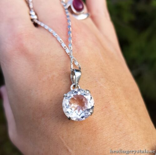 bergkristall silver halsband