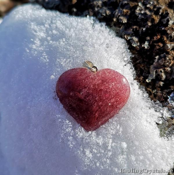 hänge i hjärta - jordgubbskvarts