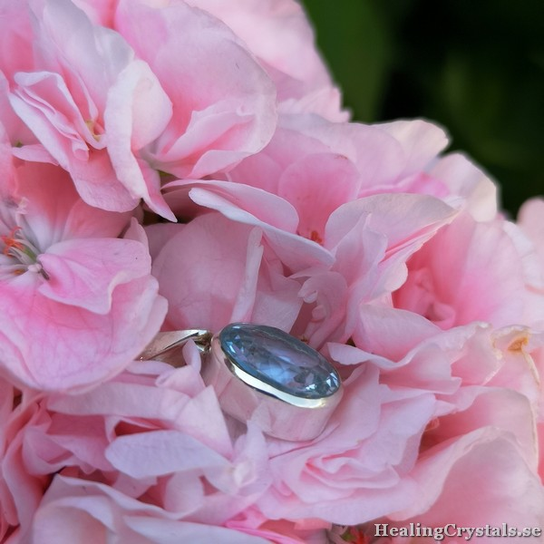 silverhalsband blå topas