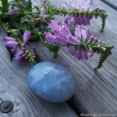 Palmstone / stressten / meditationssten i Blå kalcit